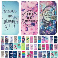 For Apple iPhone Cute Painting PU Leather Wallet Card Slots Magentic Case Cover