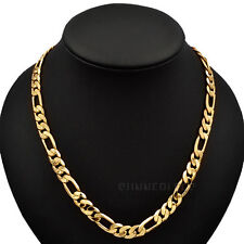 3/5/10mm Fashion Jewelry Men Women Figaro Chain 18K Yellow Gold Filled Necklace