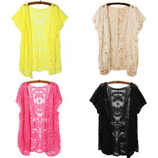 Women Hollow-Out Blouse Shirt Sheer Lace Embroidery Floral Crochet Cardigan New
