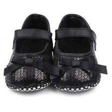 Baby Kids Girls Mary Jane Shoes Black Bowknot Bling Sequin Prewalker Crib Shoes