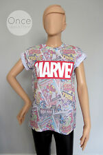 Ladies MARVEL LOGO Avengers COMIC BOOK COVERS T shirt from PRIMARK