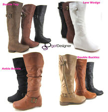 NEW Women Fashion Knee High Boots Military Riding Motorcycle Combat Faux Leather