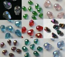 Hot Wholesale glass Clear crystal teardrop Spacer Beads AB 10 Colors 100pcs