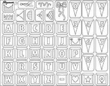 PERGAMANO UK Clear Stamps PARTY GARLANDS 41911 Alphabet Numbers BUNTING