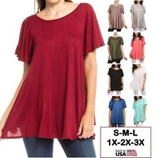 USA Womens Long Tunic Top Ruffle Short Sleeve Scoopneck Solid A-Line S M L Plus