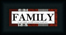 Patterns Family by Lisa White Black Red Sign Framed Art Print Wall Décor Picture