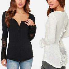 US S-4XL Women V Neck Long Sleeve Blouse Embroidery Lace Button T Shirt Tops