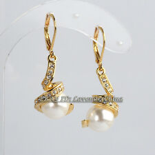 Black White Pearl Dangle Earrings Hook 18KGP Crystal Cz