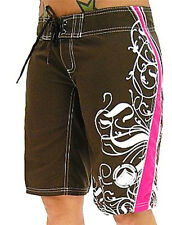 Liquid Force Ladies' ANGEL Board Shorts, Brown/Pink, UK 8-14. 40135