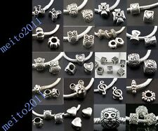 Lots For diy Tibetan Silver Spacer Big Hole Beads Fit European Charms Bracelet @