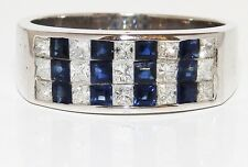 A FINE 18CT WHITE GOLD PRINCESS CUT SAPPHIRE 0.5CT DIAMOND ETERNITY RING WT 7.1g