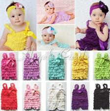 Newborn Baby Toddler Girls Ruffle Lace Petti Rompers Jumpsuit Dress Photo Prop