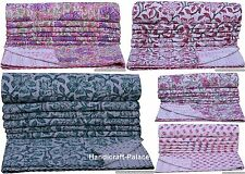 Indian Kantha Quilt Block Print Floral Bedspread Blanket Twin Size Throw Bedding