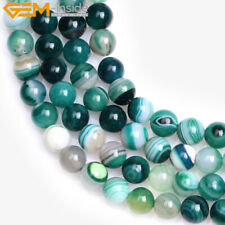 """Natural Gemstone Striped Green Agate Onyx Stone Beads For Jewelry Making 15"""""""
