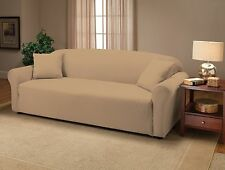 CREAM COLOR JERSEY SOFA STRETCH SLIPCOVER, COUCH COVER, CHAIR LOVESEAT SOFA