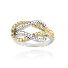 925 Silver Two Tone Yellow Diamond Accent Love Knot Ring