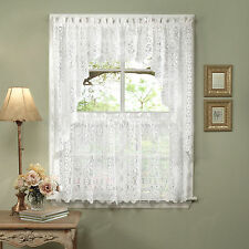 Hopewell Heavy White Lace Kitchen Curtain Choice of Tier Valance or Swag