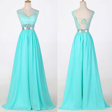 2015 New Lace Backless Evening Party Formal Bridesmaid Ball Gown Long Prom Dress