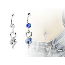 2015 Body Pierced Jewelry Heart Dangle Navel Belly Ring Clear Blue Silver PLated
