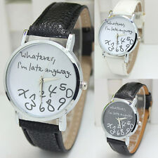 Chic Women Men Unisex New Fashion Faux Leather Analog Quartz Wrist Watch New
