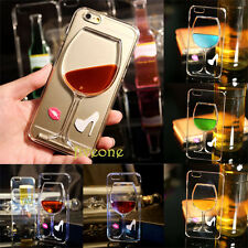 3D Move Liquid Red Wine Glass Cocktail Hard Cover Case For iPhone 5/5S/SE/6/Plus
