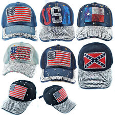 Women Whole Rhinestone Flag Studded Denim Hats Sparkly Visor Bling Baseball Caps