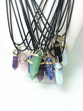 HOT Fashion Crystal Point Necklace Leather Chain Chakra Prism Healing Pendant