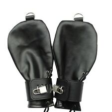 NEW Mitts,Lockable Hand / Wrist Restraint, PU Leather Restriction Gloves Costume