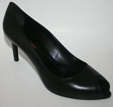 $695 NIB YSL Yves Saint Laurent Paris  PEEP TOE BLACK LEATHER MEDIUM HEEL SHOES