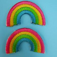 2 Rainbow Peace God Love Iron on Sew Patch Applique Badge Embroidered Motif Cute