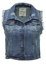 Only Damen Jeans-Weste Women Destroy Waistcoat Dark Blue Denim Blau  - 50% WOW