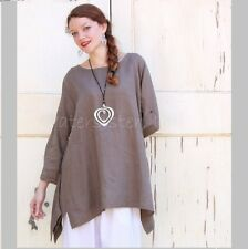 YEA Light Linen BRIA TUNIC Flared Apron Smock Adjustable Sleeve Top 2X 3X MOCHA