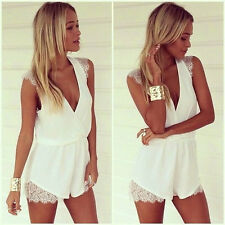 New Women Lady V Neck Chiffon Short Jumpsuit Lace Casual Playsuit Romper Shorts