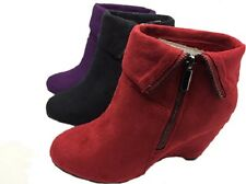 Ladies Boots No Shoes Lunge Zip UpMicro Wedge Boot Black Red Purple Size 6-11