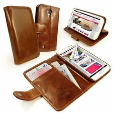 Tuff-Luv Personalised Vintage Leather Wallet / Stand Case Cover for phones Brown