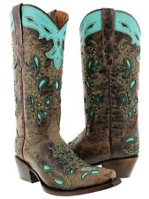 Womens brown turquoise leather cowgirl western cowboy boots rodeo corral lane