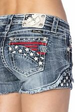 Miss Me Women's Jeans Shorts 5 Pocket American Stars & Stripes Frayed JP7185H