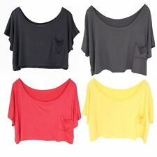 Women Casual Solid Clothes Smock Loose Pocket Modal Top Tee T-Shirt One Size