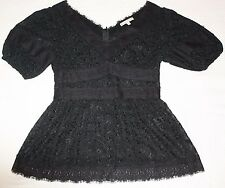 NANETTE LEPORE FRENCH LACE SS Silk Blouse/ Top Size 4/Small NWOT  Fits up to 34C