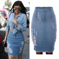 Kylie Inspired High Waist Blue Distressed Stretch Denim Pencil Skirt