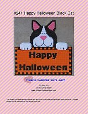 Happy Halloween Black Cat Wall Hanging-Plastic Canvas Pattern or Kit