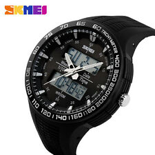 SKMEI Cool Waterproof LED Digital Black&Army Green Band Sports Wrist Watch Men