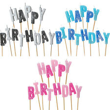Happy Birthday Sparkle Blue Pink Black Party Glitter Pick Cake Candle Candles