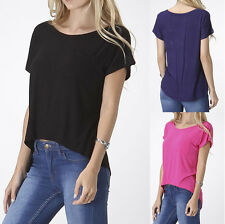 High Low Short Sleeve Tunic Tee Shirt Top Boatneck Pocket S M L