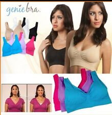 GENIE BRA BLACK WHITE NUDE PURPLE PINK BLUE with REMOVABLE PADS USA