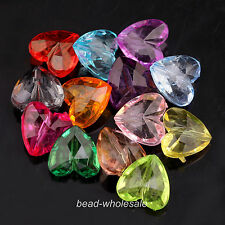 50 pcs Mixed Acrylic Faceted Heart Spacer Beads Findings15mm