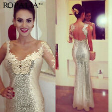 Vintage Sequins Formal Long Mermaid Bridesmaid Cocktail Pageant Prom Lace Dress