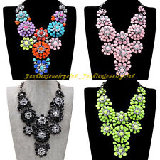 Fashion Ash Black Chain Resin Cluster Flower Statement Choker Pendant Necklace