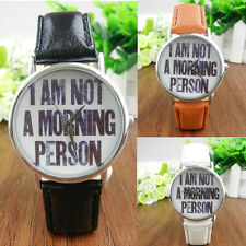 English Letters Fashion Women Men Leather Band Analog Quartz Dial Wrist Watch