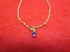 "14 KT GOLD PLATED 9 1/2"" NUGGET CHAIN ANKLET WITH AUSTRIAN CRYSTAL BIRTHSTONE"